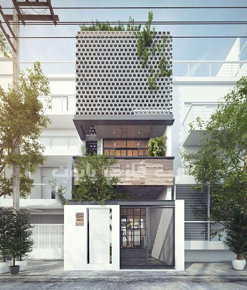نمای ساختمان با حاشیه کم
