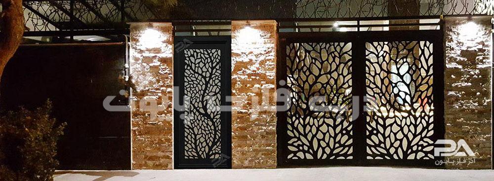 نمونه مدل ساده و جذاب درب فلزی ورودی ساختمان، حیاط و لابی