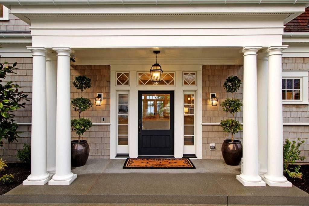 زیباترین نمونه های دکوراسیون درب ورودی ساختمان با نمای شیشه
