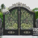 نمونه درب جذاب فلزی طرح لاله - درب باغ و درب ویلایی