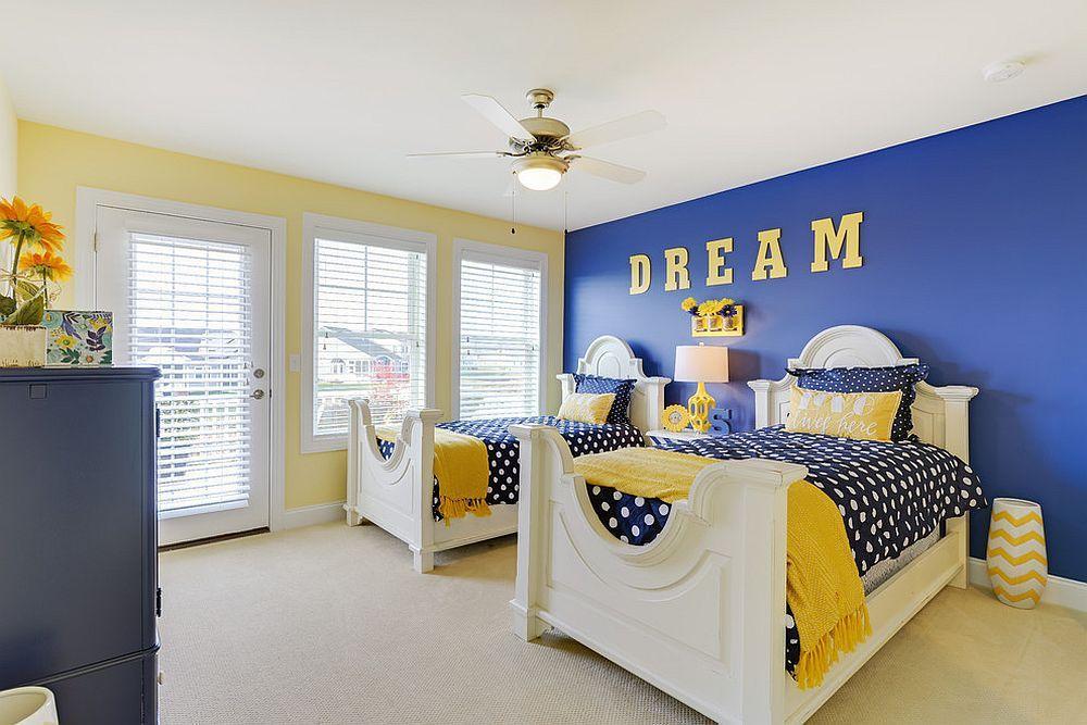 استفاده از ترکیب رنگ زرد و آبی در اتاق خواب